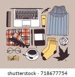 hand drawn fashion illustration.... | Shutterstock .eps vector #718677754