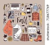 hand drawn fall fashion... | Shutterstock .eps vector #718677769