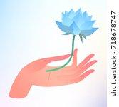 buddha purnima or vesak card.... | Shutterstock .eps vector #718678747