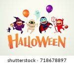 happy halloween  halloween kids ... | Shutterstock .eps vector #718678897
