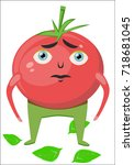 cartoon tomato character. a red ... | Shutterstock .eps vector #718681045