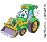 cartoon tractor  bulldozer  ... | Shutterstock .eps vector #718683625
