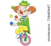 cartoon clown juggling ... | Shutterstock .eps vector #718683667