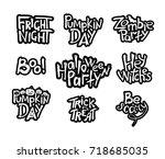set of black and white... | Shutterstock .eps vector #718685035