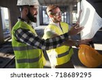 portrait of construction... | Shutterstock . vector #718689295