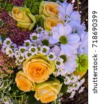 yellow roses and white... | Shutterstock . vector #718690399