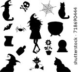halloween silhouettes. witch ... | Shutterstock .eps vector #718690444