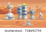mars colonization.... | Shutterstock .eps vector #718692754
