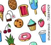 seamless pattern of cute... | Shutterstock .eps vector #718694929