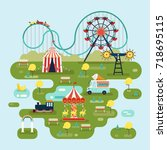circus or amusement park map... | Shutterstock .eps vector #718695115