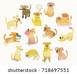 Stock vector cute watercolor yellow dogs vector illustration 718697551