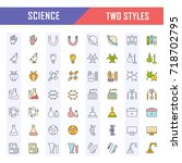 set vector line icons  sign and ... | Shutterstock .eps vector #718702795