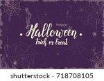 halloween vintage background... | Shutterstock . vector #718708105