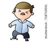 cartoon angry businessman | Shutterstock .eps vector #718710031