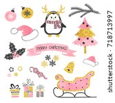 christmas set. collection of... | Shutterstock .eps vector #718713997