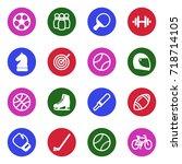 sport icons. white flat design... | Shutterstock .eps vector #718714105