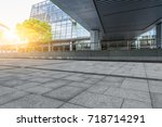 empty pavement and modern... | Shutterstock . vector #718714291