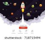 illustration of rocket flying... | Shutterstock .eps vector #718715494