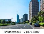 clean road of city   rapid city ...   Shutterstock . vector #718716889