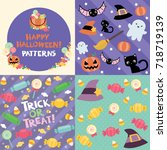 halloween pattern set | Shutterstock .eps vector #718719139