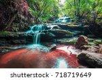leura falls  blue mountains ... | Shutterstock . vector #718719649