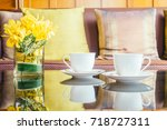 vase flower and white coffee... | Shutterstock . vector #718727311