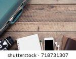 prepare accessories of traveler ...   Shutterstock . vector #718731307