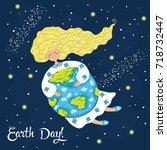 cartoon earth day postcard.... | Shutterstock .eps vector #718732447