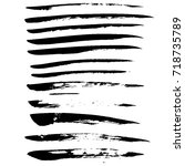 ink vector brush strokes set.... | Shutterstock .eps vector #718735789