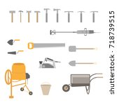 building tools isolated on... | Shutterstock .eps vector #718739515