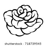 flower rose  black and white.... | Shutterstock .eps vector #718739545