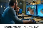 creative male game developer... | Shutterstock . vector #718743169