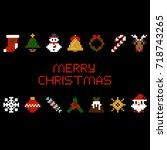 set of vector pixel art... | Shutterstock .eps vector #718743265