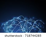 global network connection.... | Shutterstock .eps vector #718744285