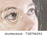 closeup of woman eye with... | Shutterstock . vector #718746241