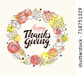 happy thanksgiving day. holiday ... | Shutterstock .eps vector #718751329