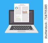 word processor. business report ... | Shutterstock .eps vector #718755385