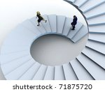 Businesswoman and a businessman going upstairs in a curved staircase. - stock photo