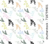 cute floral and flower seamless ... | Shutterstock .eps vector #718759801