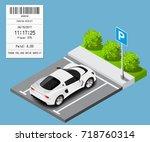 vector isometric car on parking ...   Shutterstock .eps vector #718760314