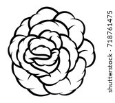 flower rose  black and white.... | Shutterstock .eps vector #718761475