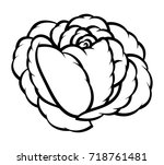 flower rose  black and white.... | Shutterstock .eps vector #718761481
