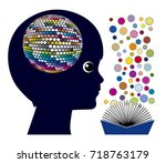 reading affects the brain.... | Shutterstock . vector #718763179