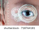 close up of child eye in... | Shutterstock . vector #718764181
