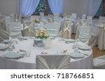 round wedding tables in... | Shutterstock . vector #718766851