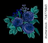 embroidery with roses. fashion... | Shutterstock .eps vector #718770865