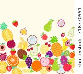 fruit mix background   apple ... | Shutterstock .eps vector #718770991
