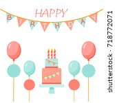 birthday set of elements for... | Shutterstock .eps vector #718772071