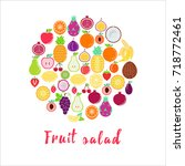 mixed fruits and words fruit... | Shutterstock .eps vector #718772461