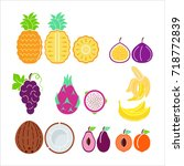 color  fruit icon set vector.... | Shutterstock .eps vector #718772839